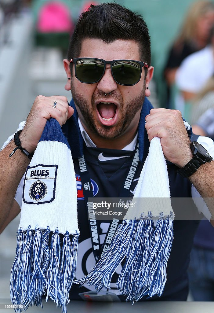A Blues fan shows his support during the round two AFL match between the Collingwood Magpies and the Carlton Blues at Melbourne Cricket Ground on April 7, 2013 in Melbourne, Australia.