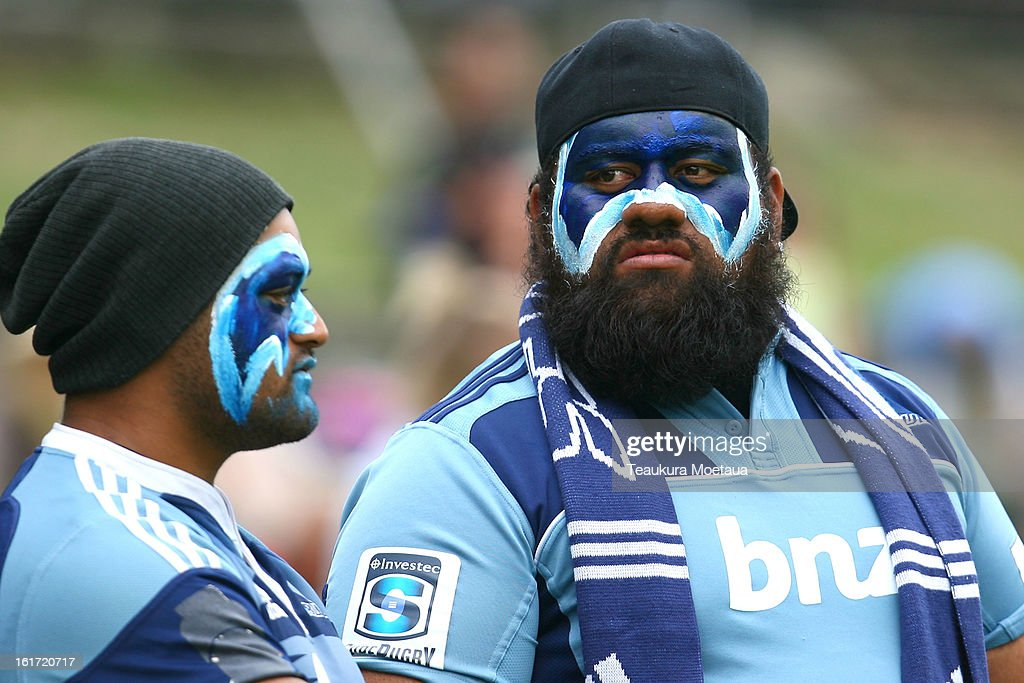 Blues fans look on before the Super Rugby trial match between the Highlanders and the Blues at the Queenstown Recreation Ground on February 15, 2013 in Queenstown, New Zealand.