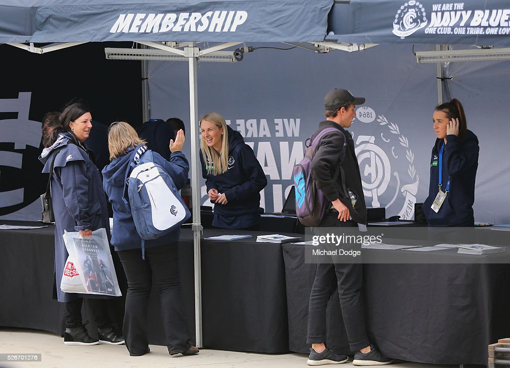 Blues fans secure memberships during the round six AFL match between the Carlton Blues and the Essendon Bombers at Melbourne Cricket Ground on May 1, 2016 in Melbourne, Australia.