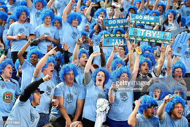 Blues fans show their support before game three of the ARL State of Origin series between the New South Wales Blues and the Queensland Maroons at ANZ...