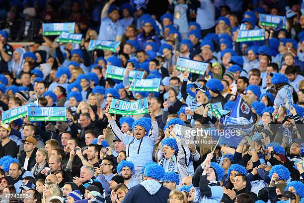 Blues fans show their support during game two of the State of Origin series between the New South Wales Blues and the Queensland Maroons at the...