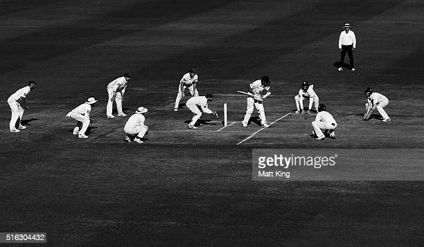 Blues fielders surround Scott Boland of the Bushrangers as he faces Arjun Nair of the Blues during day four of the Sheffield Shield match between...