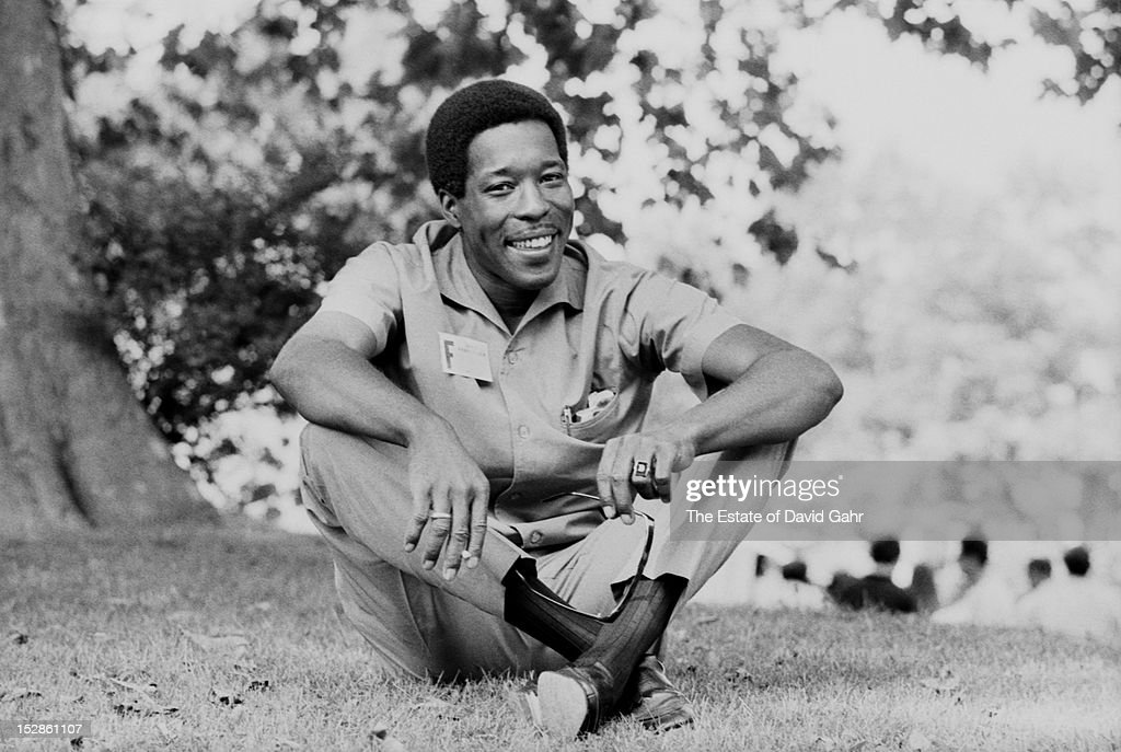 Blues guitarist and singer <a gi-track='captionPersonalityLinkClicked' href=/galleries/search?phrase=Buddy+Guy&family=editorial&specificpeople=215438 ng-click='$event.stopPropagation()'>Buddy Guy</a> poses for a portrait in July, 1968 at the Newport Folk Festival in Newport, Rhode Island.