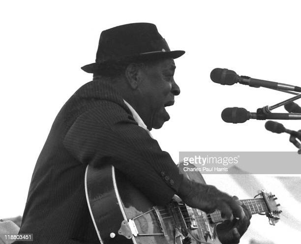 Blues guitarist Big Joe Williams performs live at the New Orleans JazzFest on April 21 1979 in New Orleans Loisiana