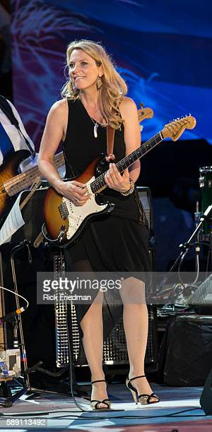Blues guitarist Susan Tedeschi performs at the dress rehearsal for the July 4th celebration with the Boston Pops conducted by Keith Lockhart at the...