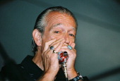 Blues harmonica player Charlie Musselwhite performs live at the New Orleans JazzFest on April 24 2005 in New Orleans Louisiana