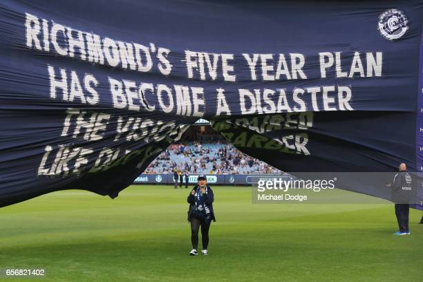 Blues have a message for Tigers on theri banner during the round one AFL match between the Carlton Blues and the Richmond Tigers at Melbourne Cricket...