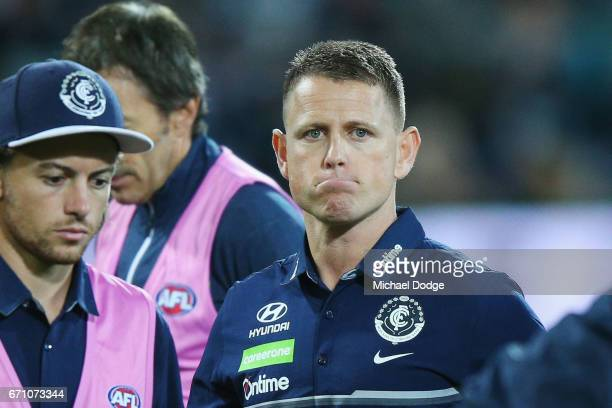 Blues head coach Brendan Bolton at quarter time during the round five AFL match between the Port Adelaide Power and thew Carlton Blues at Adelaide...