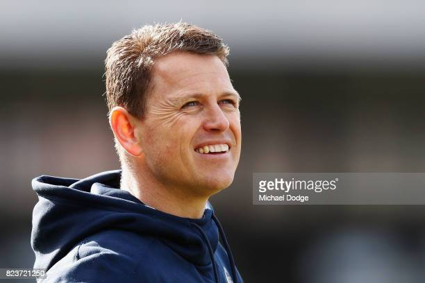 Blues head coach Brendon Bolton during a Carlton Blues AFL training session at Visy Park on July 28 2017 in Melbourne Australia