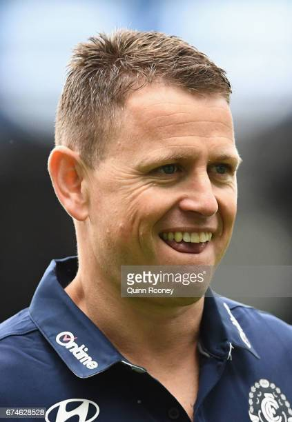 Blues head coach Brendon Bolton looks on during the round six AFL match between the Carlton Blues and the Sydney Swans at Melbourne Cricket Ground on...