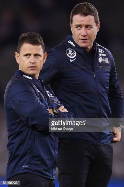 Blues head coach Brendon Bolton looks upfield during the round 12 AFL match between the Carlton Blues and the Greater Western Sydney Giants at Etihad...