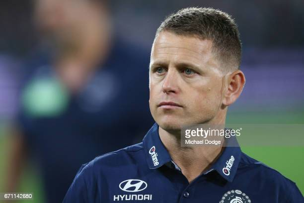 Blues head coach Brendon Bolton looks upfield during the round five AFL match between the Port Adelaide Power and thew Carlton Blues at Adelaide Oval...
