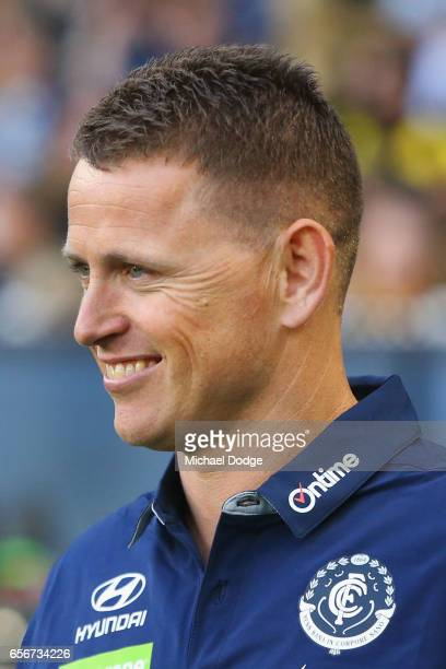 Blues head coach Brendon Bolton looks upfield during the round one AFL match between the Carlton Blues and the Richmond Tigers at Melbourne Cricket...