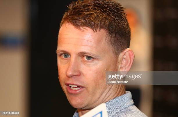 Blues head coach Brendon Bolton speaks to the media during the AFL Draft Period at Etihad Stadium on October 19 2017 in Melbourne Australia