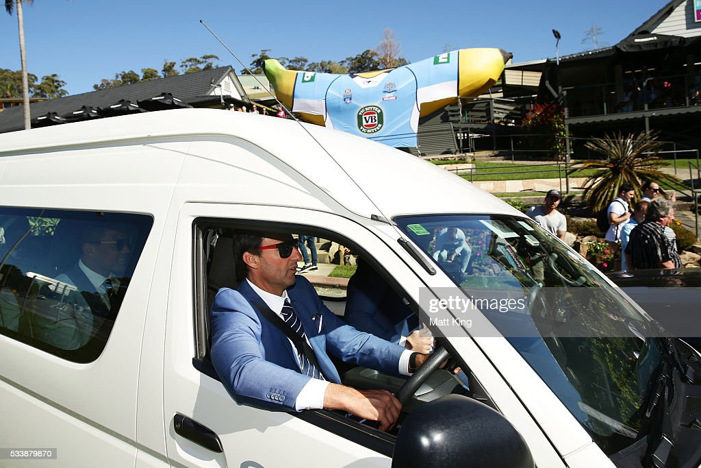 Blues head coach Laurey Daley drives the team bus during a New South Wales Blues NRL State of Origin Welcome Session at The Big Banana on May 24, 2016 in Coffs Harbour, Australia.