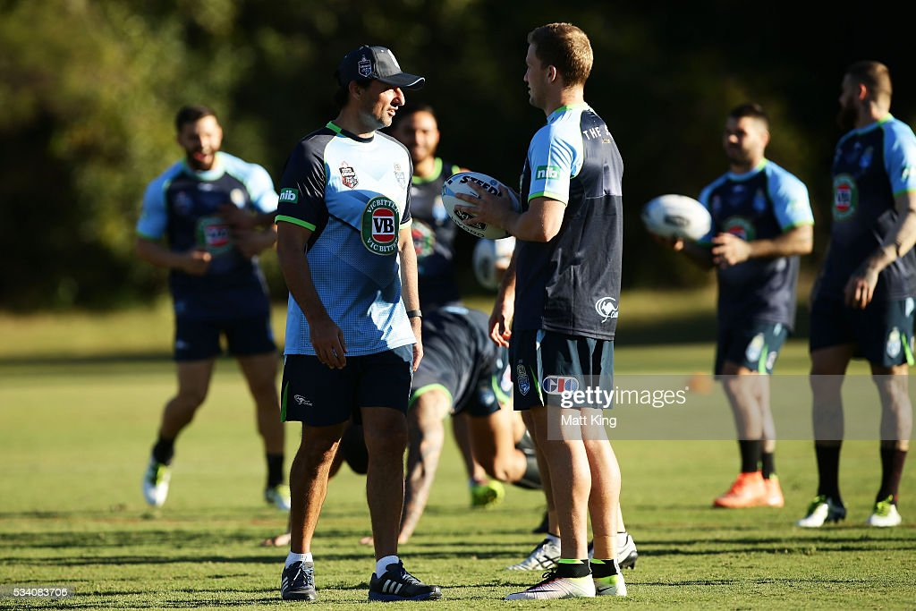 Blues head coach Laurey Daley talks to trainer <a gi-track='captionPersonalityLinkClicked' href=/galleries/search?phrase=Matt+Moylan&family=editorial&specificpeople=10892874 ng-click='$event.stopPropagation()'>Matt Moylan</a> of the Blues during a New South Wales Blues State of Origin training session on May 25, 2016 in Coffs Harbour, Australia.