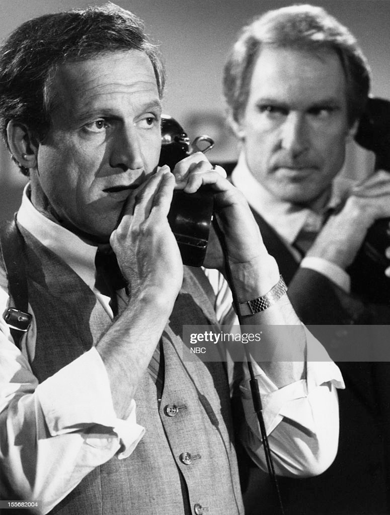 BLUES --'Blues in the Night' Episode 601 -- Pictured: (l-r) Daniel J. Travanti as Captain Frank Furillo, Jon Cypher as Chief Fletcher Daniels --