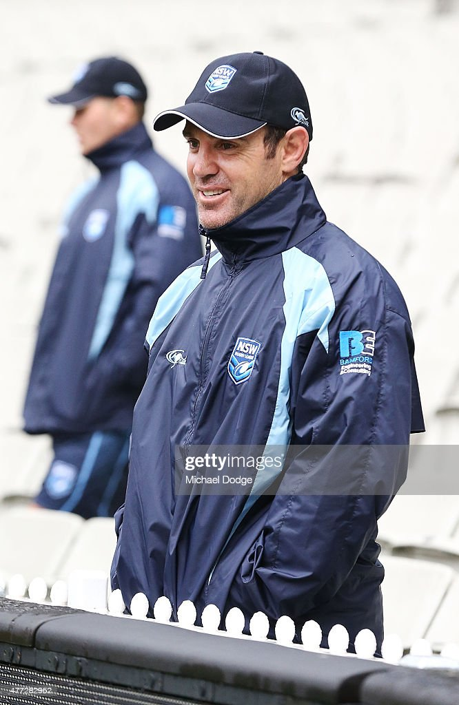 Blues legend Brad Fittler looks on during a New South Wales Blues State of Origin training session at the Melbourne Cricket Ground on June 16, 2015 in Melbourne, Australia.