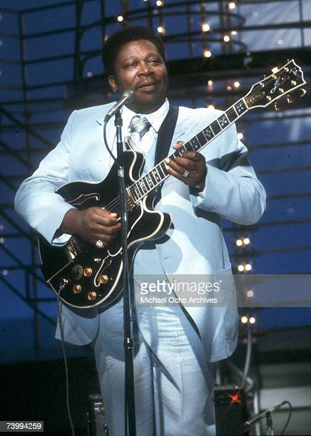 Blues musician BB King performs on the TV show American Bandstand with his Gibson hollowbody electric guitar nicknamed 'Lucille' in circa 1975