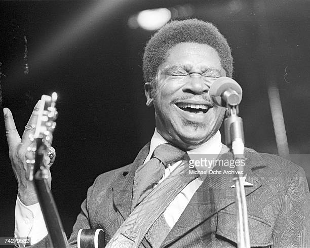 Blues musician BB King performs onstage with his 'Lucille' model Gibson hollowbody electric guitar in circa 1975