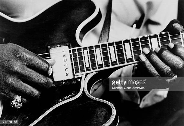 Blues musician BB King records in the studio with his 'Lucille' model Gibson hollowbody electric guitar in circa 1963