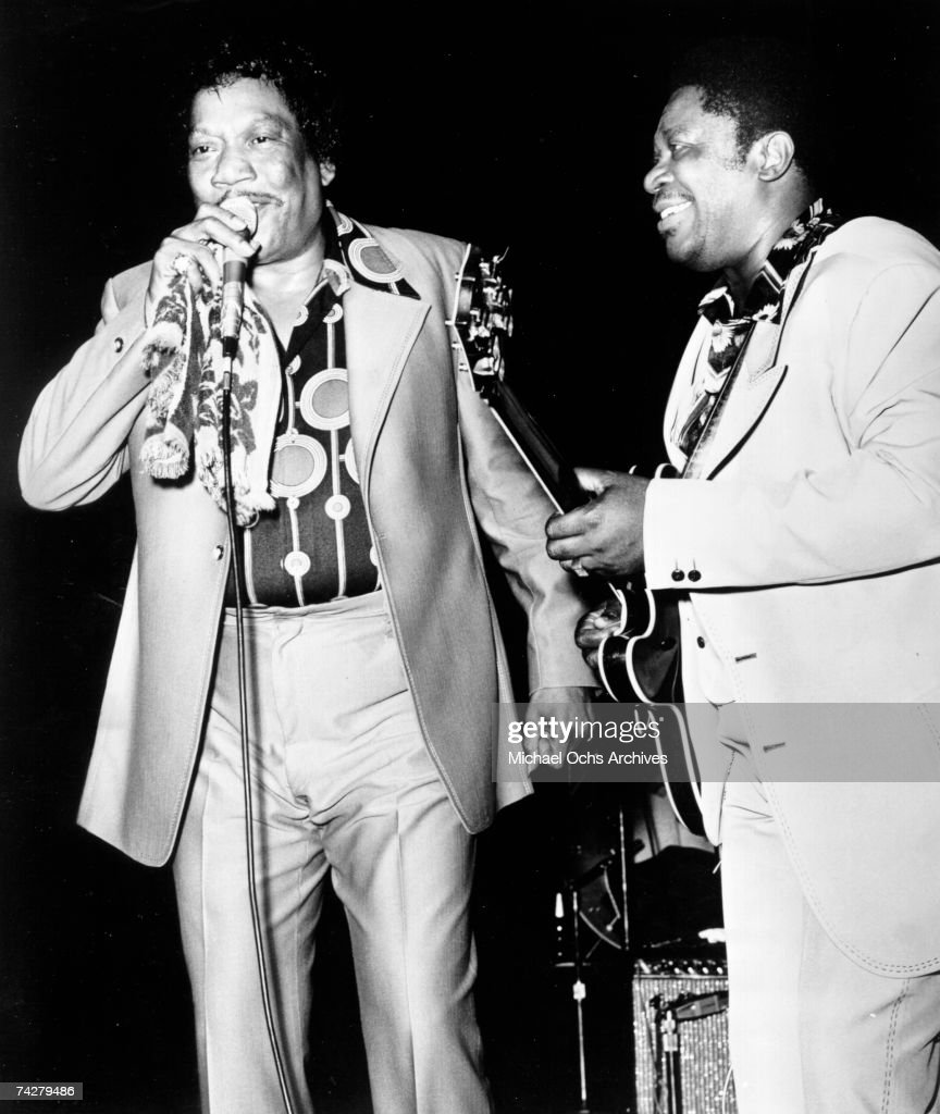 Blues musicians Bobby 'Blue' Bland and BB King perform onstage in circa 1976