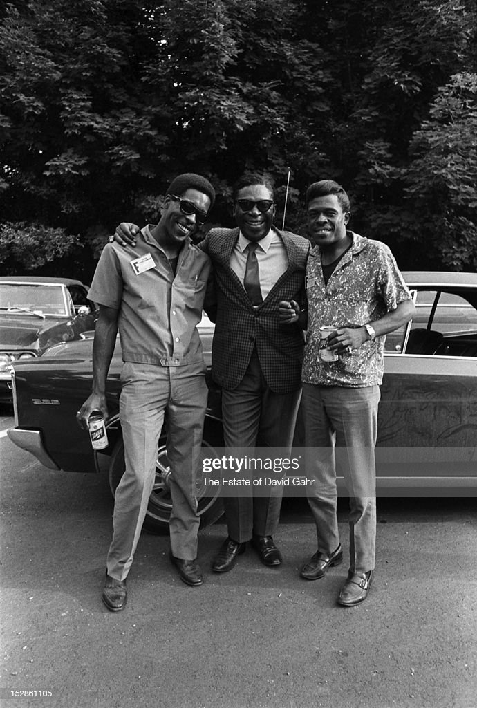 Blues musicians (l-r) <a gi-track='captionPersonalityLinkClicked' href=/galleries/search?phrase=Buddy+Guy&family=editorial&specificpeople=215438 ng-click='$event.stopPropagation()'>Buddy Guy</a>, <a gi-track='captionPersonalityLinkClicked' href=/galleries/search?phrase=B.B.+King&family=editorial&specificpeople=204744 ng-click='$event.stopPropagation()'>B.B. King</a>, Junior Wells) pose for a portrait in July, 1968 at the Newport Folk Festival in Newport, Rhode Island.
