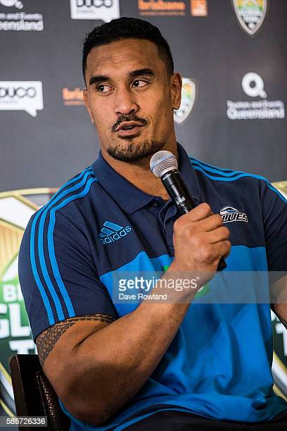 Blues player Jerome Kaino speaks to the media during the Rugby 10's Launch at Spencer on Byron Hotel on August 4 2016 in Auckland New Zealand The...