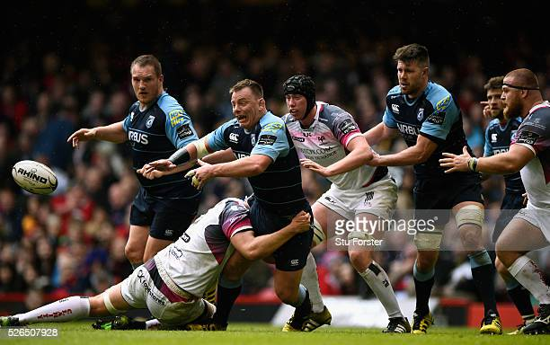 Blues player Matthew Rees offloads during the Guinness Pro 12 match between Cardiff Blues and Ospreys at Principality Stadium on April 30 2016 in...
