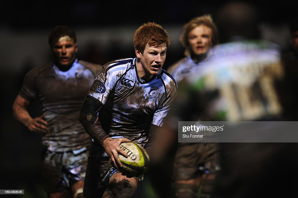 Blues player Rhys Patchell (c) in action during the LV= Cup match between Cardiff Blues and London Irish at the Arms Park on February 1, 2013 in Cardiff, Wales.