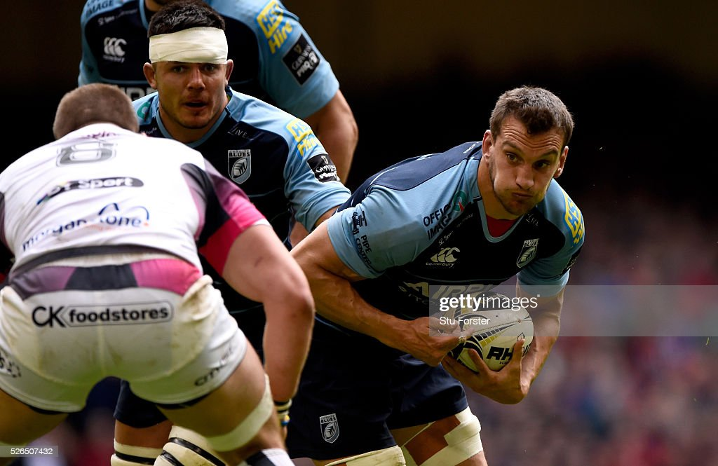 Blues player Sam Warburton makes a break during the Guinness Pro 12 match between Cardiff Blues and Ospreys at Principality Stadium on April 30, 2016 in Cardiff, United Kingdom.