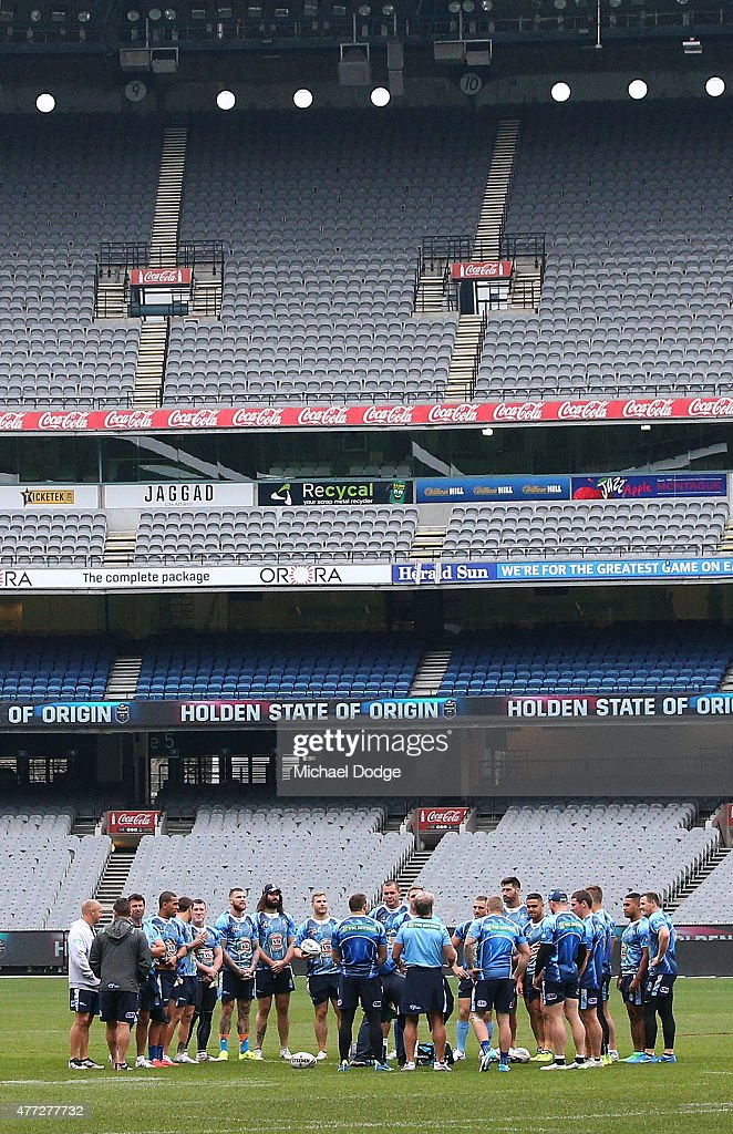 Blues players huddle together during a New South Wales Blues State of Origin training session at the Melbourne Cricket Ground on June 16, 2015 in Melbourne, Australia.