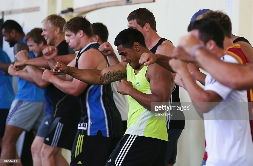 Blues players in action during a Blues training session with Shane Cameron at Shane Cameron Fitness on January 23, 2013 in Auckland, New Zealand.