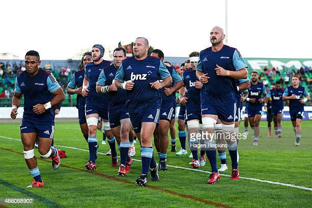 Blues players leave the field after warming up during the round five Super Rugby match between the Hurricanes and the Blues at Arena Manawatu on...