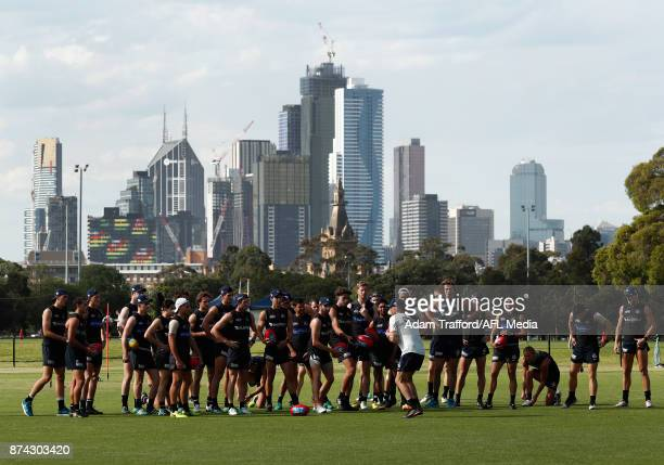Blues players listen in during the Carlton Blues training session at Princes Park on November 15 2017 in Melbourne Australia