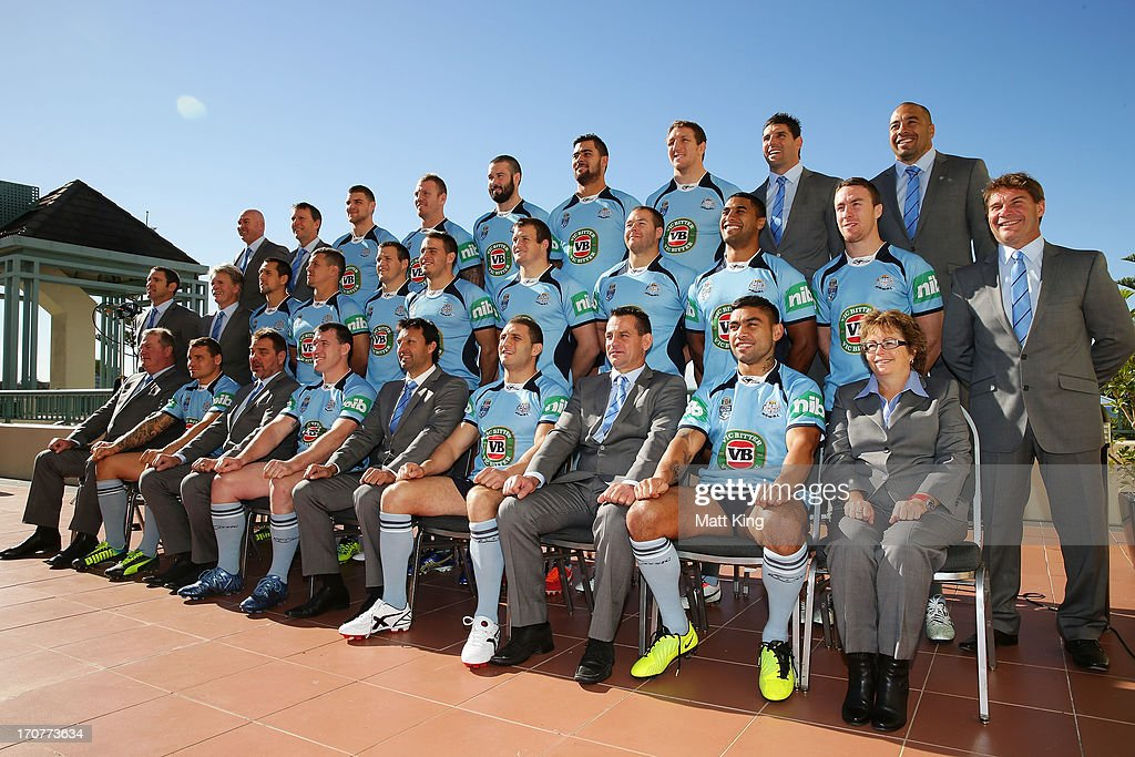 Blues players pose during the New South Wales Blues state of origin team photo at Crowne Plaza Coogee on June 18 2013 in Sydney Australia