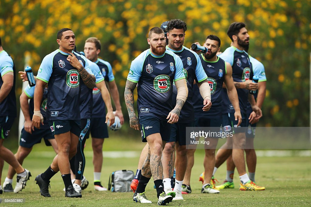 Blues players walk to a drinks break during a New South Wales State of Origin media opportunity on May 26, 2016 in Coffs Harbour, Australia.