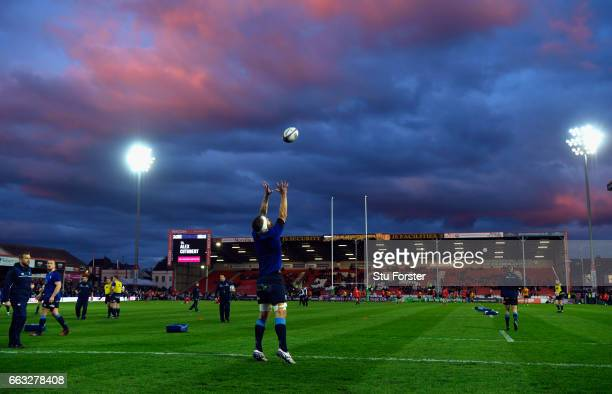 Blues players warm up before the European Rugby Challenge Cup match between Gloucester Rugby and Cardiff Blues at Kingsholm on April 1 2017 in...