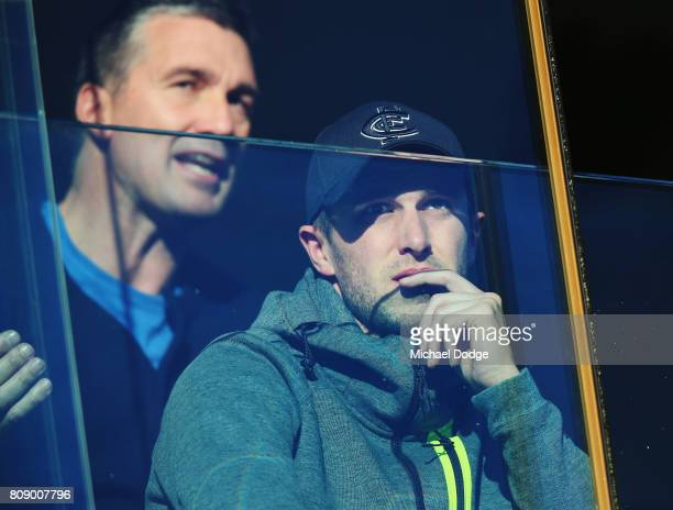 Blues recruiting manager Stephen Silvagni and captain Marc Murphy keep watch during the U18 AFL Championships match between Vic Metro and the Allies...
