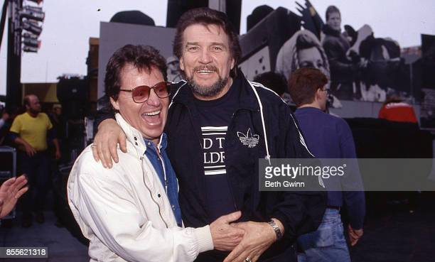 Blues Singer Delbert McClinton and Waylon Jennings backstage during FarmAid April 24 1993 Ames Iowa