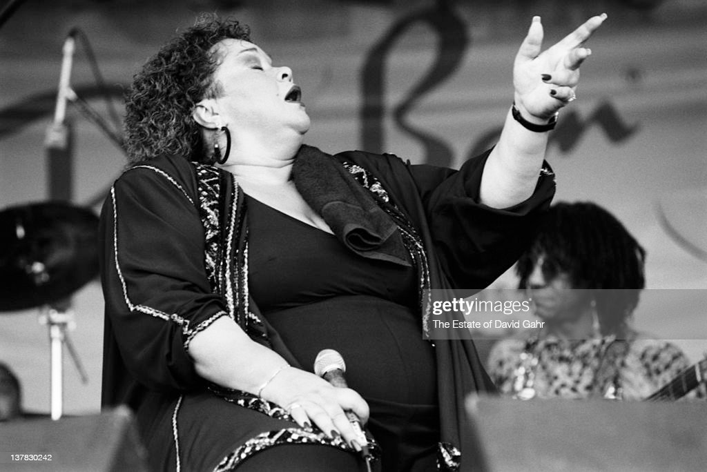 Blues singer <a gi-track='captionPersonalityLinkClicked' href=/galleries/search?phrase=Etta+James&family=editorial&specificpeople=833123 ng-click='$event.stopPropagation()'>Etta James</a> performs at the New Orleans Jazz and Heritage Festival in April 1994 in New Orleans, Louisiana.