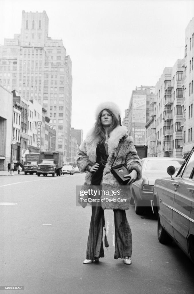Blues singer Janis Joplin poses for a portrait on March 14, 1969 near her residence at the Hotel Chelsea in New York City, New York.