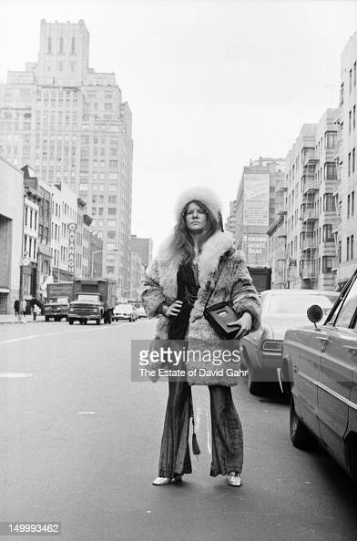 Blues singer Janis Joplin poses for a portrait on March 14 1969 near her residence at the Hotel Chelsea in New York City New York