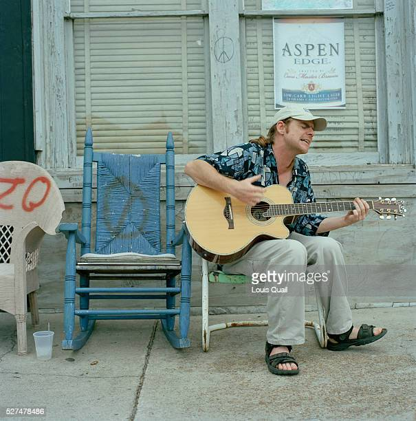 Blues singer outside the Ground Zero Blues Club Clarksdale Mississippi Muddy Waters Robert Johnson Bessie Smith and ZZ Top are some of the many...