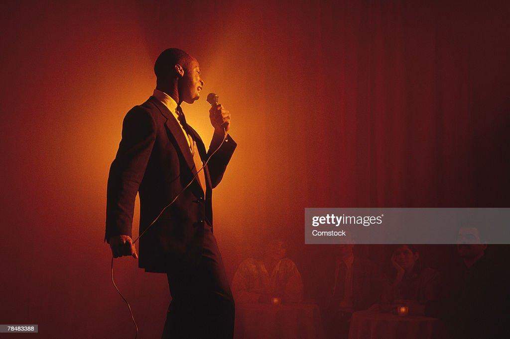 Blues singer performing