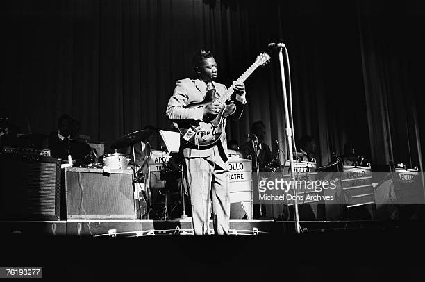 Blues singer/guitarist BB King the 'King of the Blues' performs with his beloved guitar 'Lucille' circa mid1964 at the Apollo Theater in Harlem New...