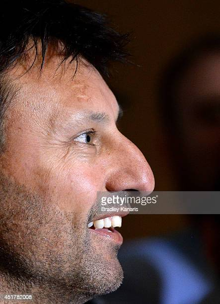 Blues State of Origin coach Laurie Daley speaks to the media during a press conference at the Sofitel Hotel on July 7 2014 in Brisbane Australia