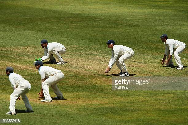 Blues wicketkeeper Ryan Carters and the slip cordon line up during day two of the Sheffield Shield match between Victoria and New South Wales at...