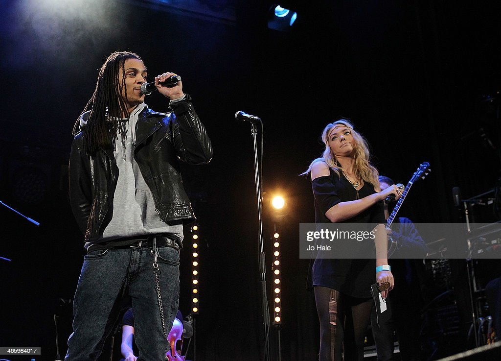 Bluey Robinson and Becca Dudley MTV Presenters on stage for MTV Brand New For 2014 Showcase at Islington Assembly Hall on January 30, 2014 in London, United Kingdom.
