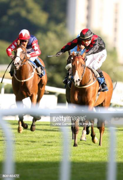 Bluie riden by Adrian Nicholls wins the Racing Uk Auction Nursery Handicap during Italian Night at Hamilton Park Racecourse Hamilton